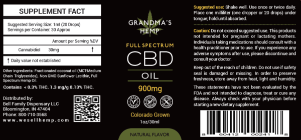 Grandma's Hemp 900mg Full Spectrum CBD Oil